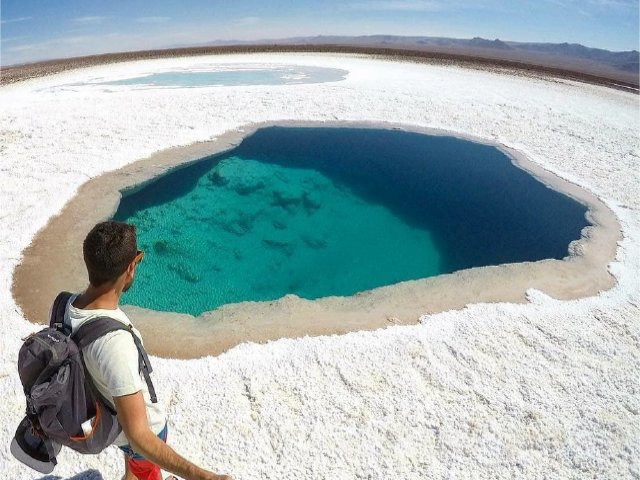 Lagunas Escondidas e Pôr do Sol no Atacama